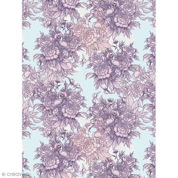 Décopatch N° 760 - Motif Fleurs roses sur fond gris - 1 feuille - Photo n°1