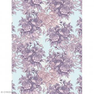 Décopatch N° 760 - Motif Fleurs roses sur fond gris - 1 feuille
