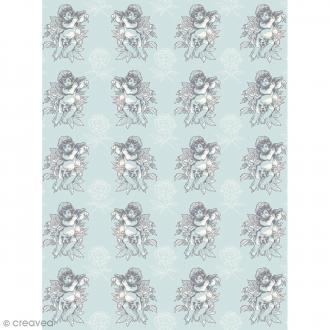 Décopatch N° 761 - Motif Ange sur fond turquoise - 1 feuille