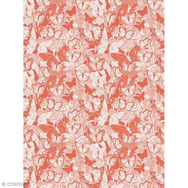 Décopatch N° 762 - Motif Papillon sur fond rouge et blanc - 1 feuille - Photo n°1