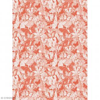 Décopatch N° 762 - Motif Papillon sur fond rouge et blanc - 1 feuille
