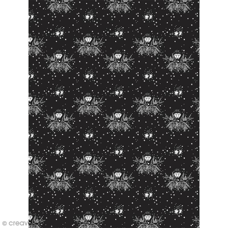Décopatch N° 764 - Motif Diamants et Oiseaux sur fond noir - 1 feuille - Photo n°1