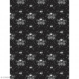 Décopatch N° 764 - Motif Diamants et Oiseaux sur fond noir - 1 feuille