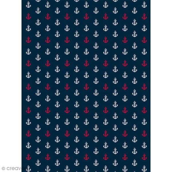 Décopatch N° 765 - Motif Ancres blanches et rouge sur fond bleu - 1 feuille - Photo n°1