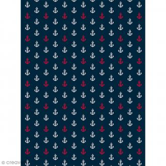 Décopatch N° 765 - Motif Ancres blanches et rouge sur fond bleu - 1 feuille
