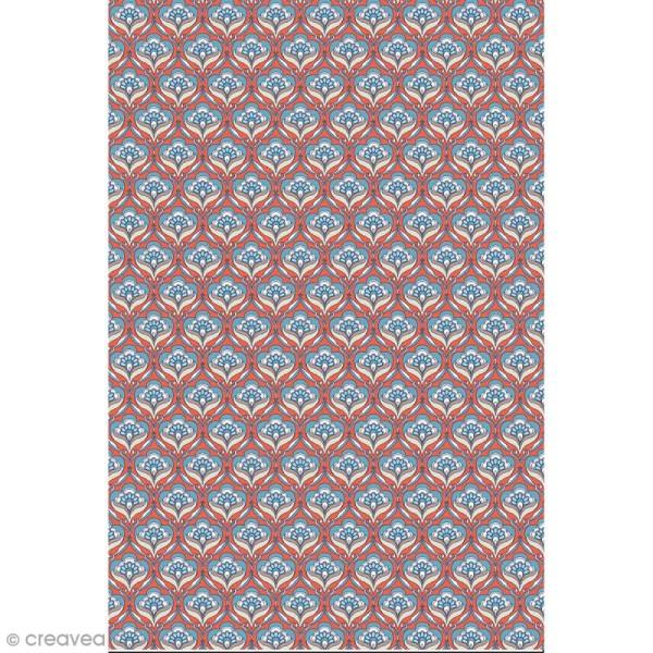 Décopatch N° 767 - Motif Fleur sur fond orange et bleu - 1 feuille - Photo n°1