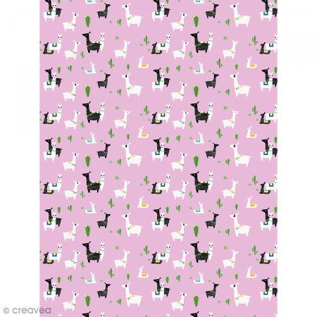 Décopatch N° 768 - Motif Lamas sur fond rose - 1 feuille - Photo n°1