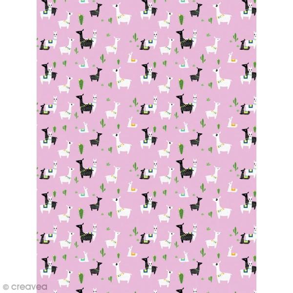 Décopatch N° 768 - Motif Lamas sur fond rose - 1 feuille - Photo n°1
