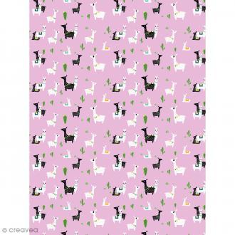Décopatch N° 768 - Motif Lamas sur fond rose - 1 feuille