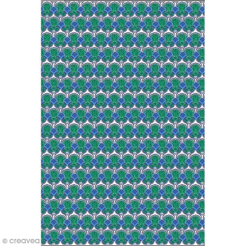 Décopatch N° 769 - Motif Formes bleues et vertes sur fond blanc - 1 feuille - Photo n°1