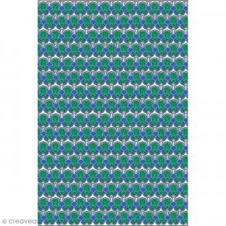 Décopatch N° 769 - Motif Formes bleues et vertes sur fond blanc - 1 feuille