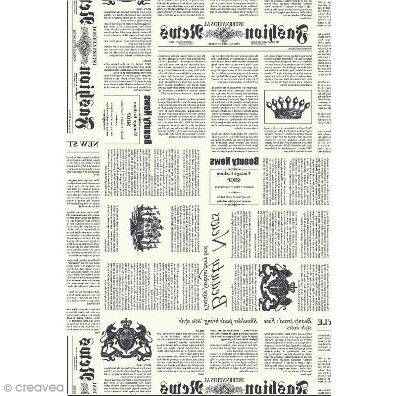 d copatch n 770 motif journal sur fond blanc 1 feuille feuille d copatch noir blanc creavea. Black Bedroom Furniture Sets. Home Design Ideas