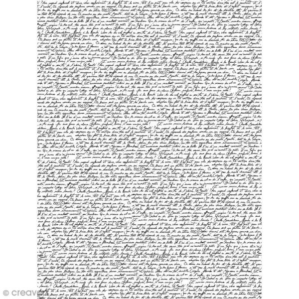 Décopatch N° 771 - Motif écriture sur fond blanc - 1 feuille - Photo n°1
