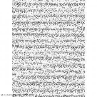 Décopatch N° 771 - Motif écriture sur fond blanc - 1 feuille