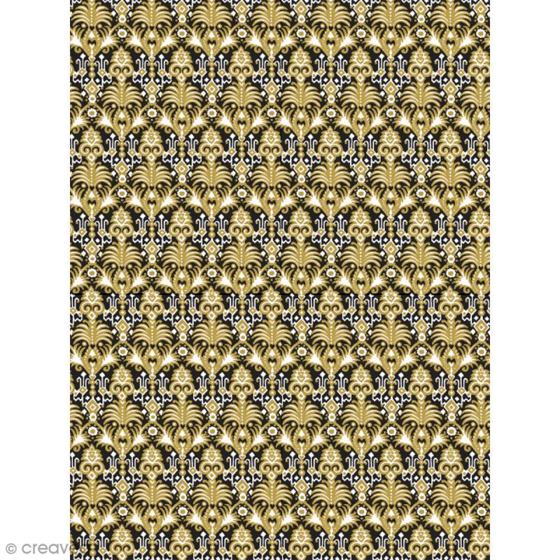 Décopatch N° 773 - Motif Lion doré sur fond noir - 1 feuille - Photo n°1
