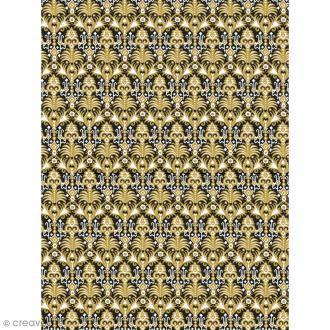 Décopatch N° 773 - Motif Lion doré sur fond noir - 1 feuille