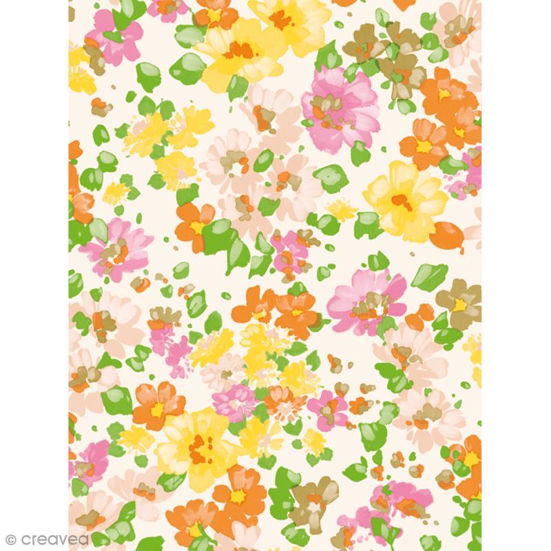 Décopatch N° 776 - Motif Fleurs sur fond blanc - 1 feuille - Photo n°1