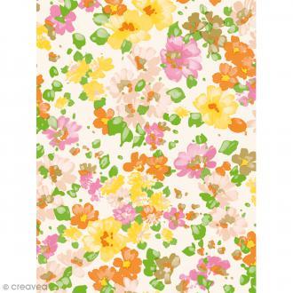 Décopatch N° 776 - Motif Fleurs sur fond blanc - 1 feuille