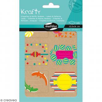 Autocollants Etiquettes Krafty - Motifs Bonbons - 24 pcs