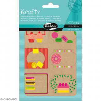 Autocollants Etiquettes Krafty - Motifs Biscuits - 24 pcs