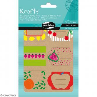 Autocollants Etiquettes Krafty - Motifs Fruits - 24 pcs