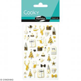 Stickers Fantaisie Cooky - Noël Noir et Or - 1 planche 7,5 x 12 cm