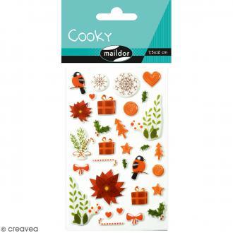 Stickers Fantaisie Cooky - Noël Fleurs - 1 planche 7,5 x 12 cm