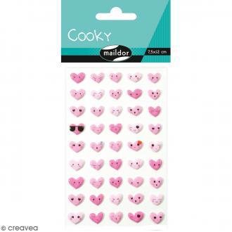 Stickers Fantaisie Cooky - Emoticones Coeurs - 1 planche 7,5 x 12 cm