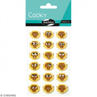 Stickers Fantaisie Cooky - Emoticones Singes - 1 planche 7,5 x 12 cm