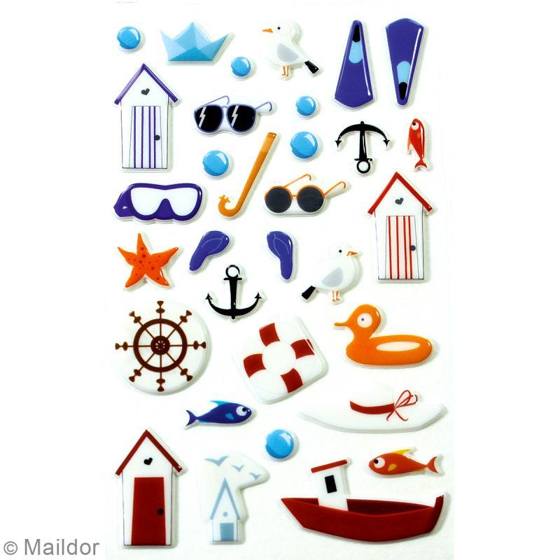 Stickers Fantaisie Cooky - Bord de Mer - 1 planche 7,5 x 12 cm - Photo n°2