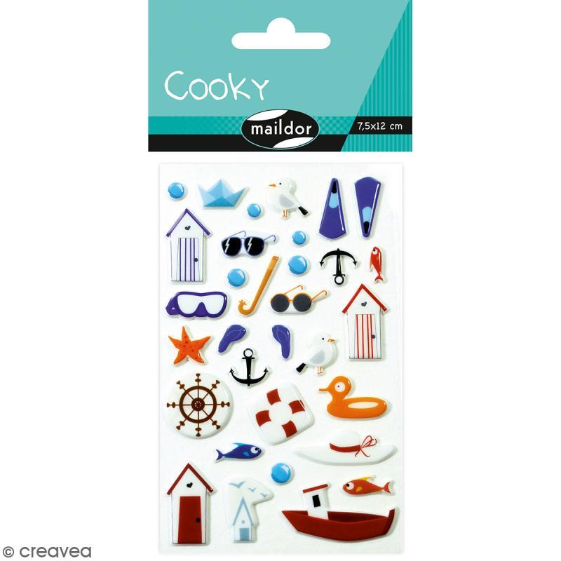 Stickers Fantaisie Cooky - Bord de Mer - 1 planche 7,5 x 12 cm - Photo n°1