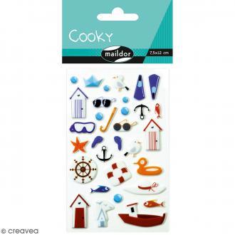 Stickers Fantaisie Cooky - Bord de Mer - 1 planche 7,5 x 12 cm