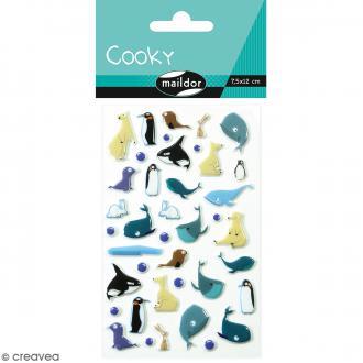 Stickers Fantaisie Cooky - Banquise - 1 planche 7,5 x 12 cm