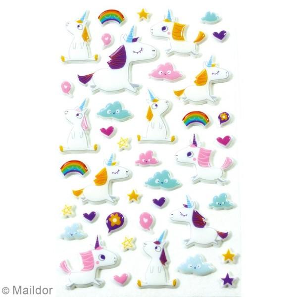 Stickers Fantaisie Cooky - Licornes - 1 planche 7,5 x 12 cm - Photo n°2