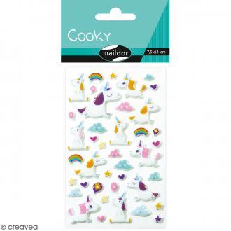 Stickers Fantaisie Cooky - Licornes - 1 planche 7,5 x 12 cm