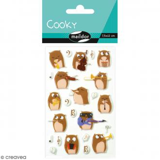 Stickers Fantaisie Cooky - Hamsters musiciens - 1 planche 7,5 x 12 cm