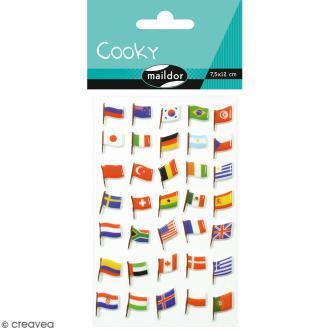 Stickers Fantaisie Cooky - Drapeaux - 1 planche 7,5 x 12 cm