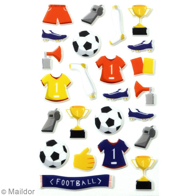 Stickers Fantaisie Cooky - Football - 1 planche 7,5 x 12 cm - Photo n°2