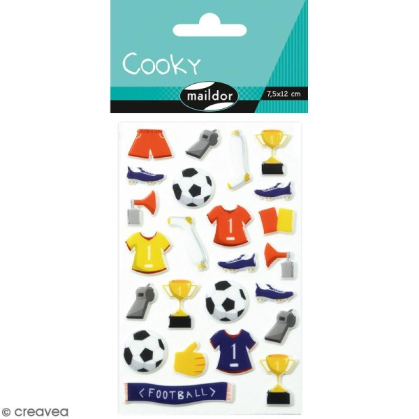 Stickers Fantaisie Cooky - Football - 1 planche 7,5 x 12 cm - Photo n°1