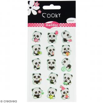 Stickers Fantaisie Cooky - Panda - 1 planche 7,5 x 12 cm