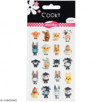 Stickers Fantaisie Cooky - Animaux de la Ferme - 1 planche 7,5 x 12 cm