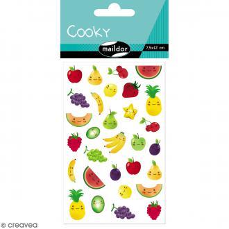 Stickers Fantaisie Cooky - Kawaï Fruits - 1 planche 7,5 x 12 cm
