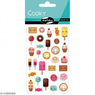 Stickers Fantaisie Cooky - Kawaï Gourmandises - 1 planche 7,5 x 12 cm