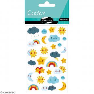 Stickers Fantaisie Cooky - Kawaï Météo - 1 planche 7,5 x 12 cm