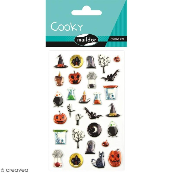 Stickers Fantaisie Cooky - Halloween - 1 planche 7,5 x 12 cm - Photo n°1