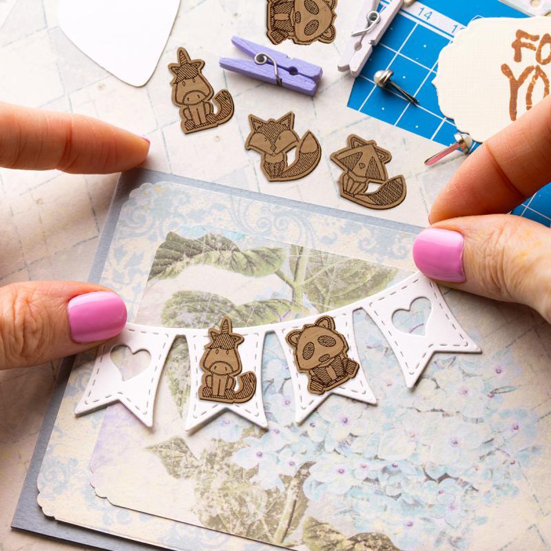 Set de mini formes en bois - Animaux - 4 pcs - Photo n°2