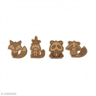 Set de mini formes en bois - Animaux - 4 pcs