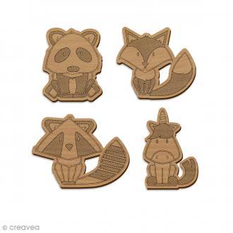 Set de formes en bois 5 cm - Animaux - 4 pcs