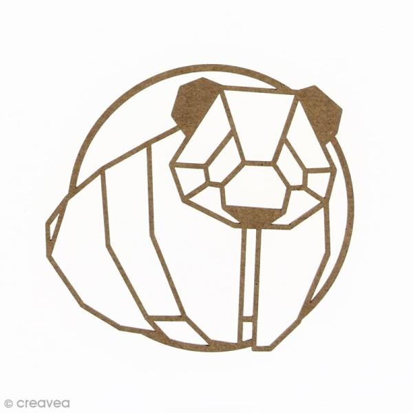 Panda géométrique en bois à décorer - 9 cm - Photo n°1