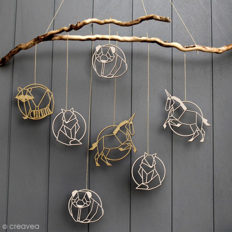Raton laveur géométrique en bois à décorer - 9 cm - Photo n°2